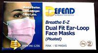 Defend Breathe E-z Dual Fit Ear-loop Face Masks Pleated Mk-1256 Pink 50 Masks