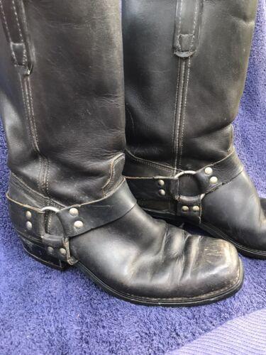 MENS BIKER Boots, 10.5 Black Leather Harness Boots