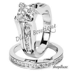 Women-039-s-925-Sterling-Silver-Princess-Cut-CZ-Wedding-Ring-Set-Size-5-6-7-8-9-10