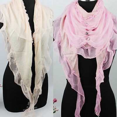 Womens Fashion Scarf Rhinestone Chiffon Stitching Ruffle Trim Triangle Scarf New