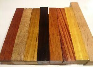 8-Exotic-pen-blank-set-3-4-034-x3-4-034-x5-034-cocobolo-teak-Mango-Yellowheart-101