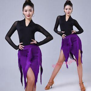 bb75ab61d Image is loading Latin-Tassels-Practice-Rumba-Samba-Ballroom-Performance- Dress-