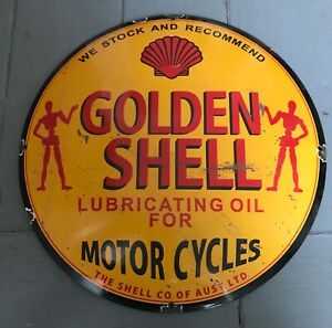 Golden Shell Motorcycles Oil Enamel Sign 30 CM Garage Automobilia