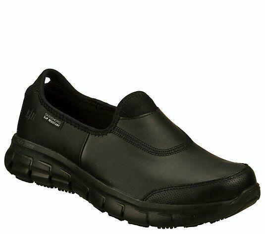 Skechers Work Slip-ons Sure Track Shoes 76536 Black Slip Resistant Size 5.5M NIB