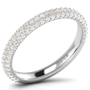 0.60 carat Round Brilliant Cut Diamond Half Eternity Wedding Ring in 9K gold