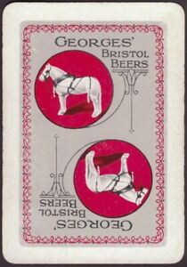 Playing-Cards-Single-Card-Old-Wide-GEORGES-Brewery-BEER-Advertising-Art-HORSE-D
