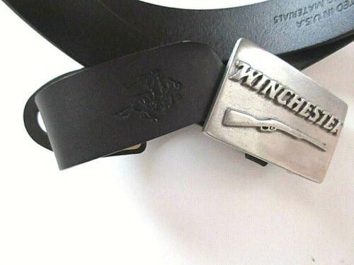 Winchester Mens Genuine Leather Black Belt with Metal Shotgun Buckle Free Ship