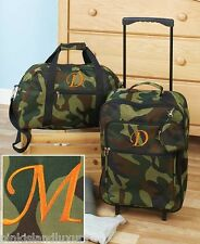 3pc LUGGAGE MONOGRAM M ROLLING SUITCASE DUFFEL BAG Camo Personalized Initial Kid