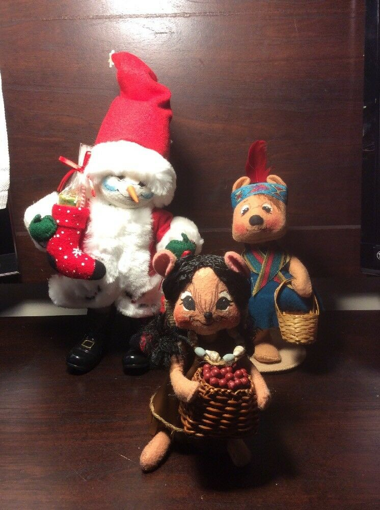 ANNALEE Snowmen,Indian Native And Harvest Indian Girl Basket