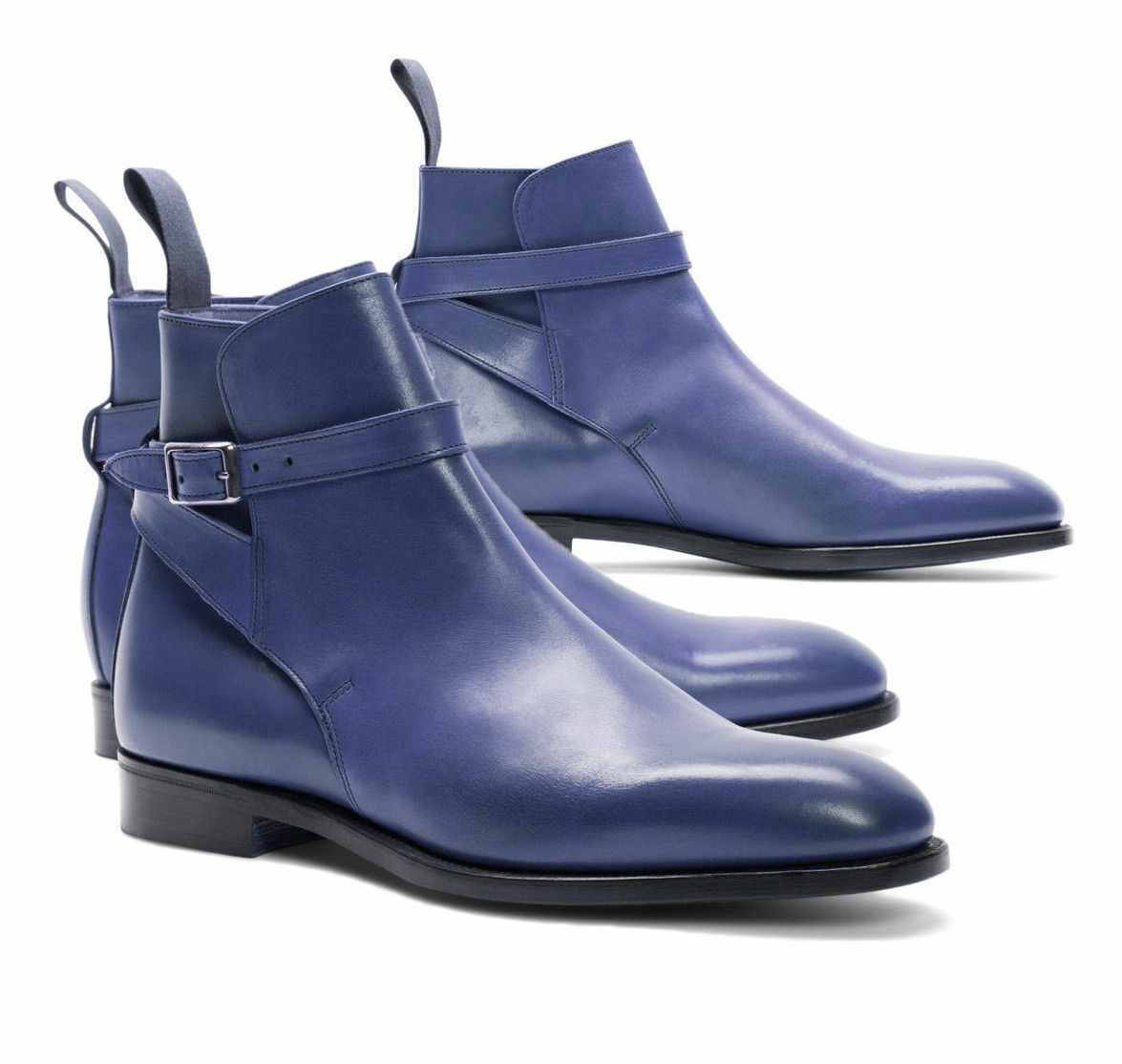 Mens Handmade Boots Jodhpurs Navy Leather Ankle High Dress Formal Wear shoes New