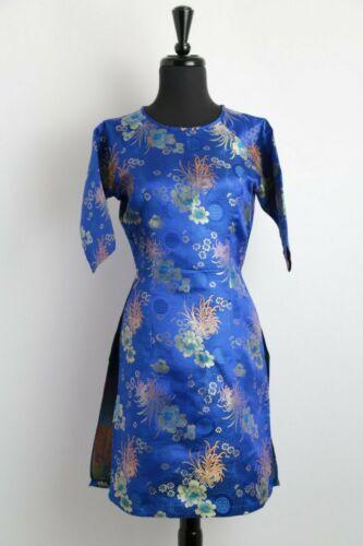 Ao Dai Vietnam Black Floral Jacquard Cach Tan Cach Tan Sizes Available