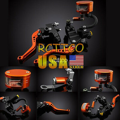 "Universal 7/8"" Brake Clutch Lever Master Cylinder Set Reservoir For Honda Yamaha"
