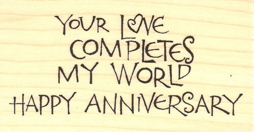 Wood Mounted Rubber Stamp IMPRESSION OBSESSION NEW Anniversary Text C15063