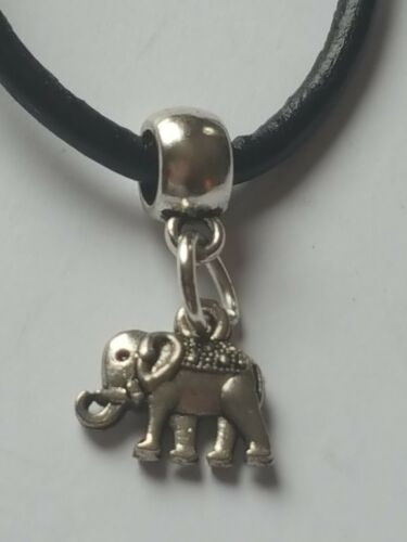 SMALL  ELEPHANT SILVER CHARM PENDANT ON BLACK LEATHER CHOKER NECKLACE.