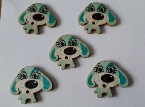 5 LARGE BLUE DOG SHAPED 2 HOLED WOODEN BUTTONS 30mx25mm IDEAL FOR ANY CRAFT