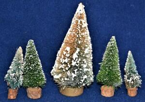Vintage LEMAX Village Set of 5 Christmas Trees Accessories Different Size