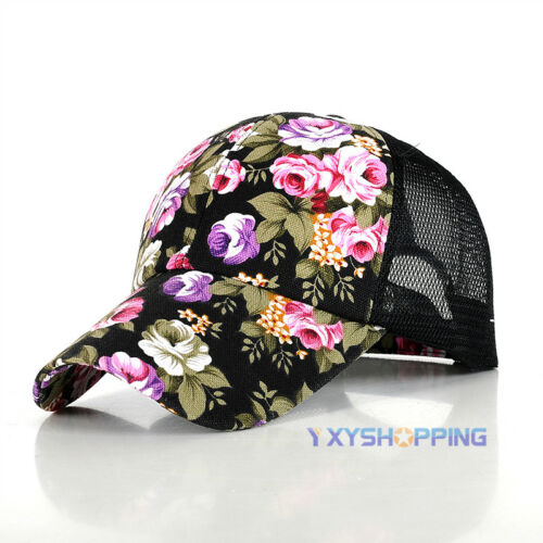 Frauen Blumendruck Baseball Hysteresenhut Hip-Hop Einstellbare Sommer Peak Caps