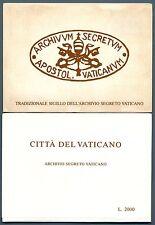 VATICANO - Cart. Post. - 1984 - ARCHIVIO SEGRETO VATICANO - Serie 6 val.