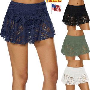 f24a2e6074a6d Image is loading Ladies-Womens-Lace-Crochet-Skirted-Bikini-Bottom-Swimsuit-