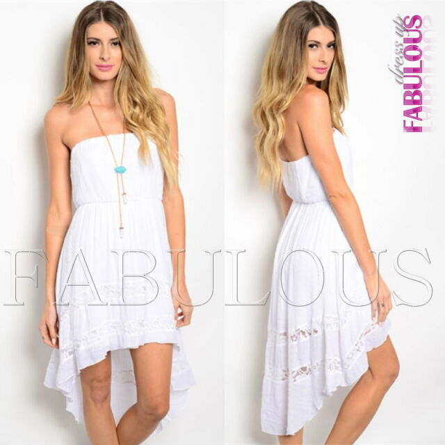 Sexy Strapless High Low Dress Party Evening Casual Summer Size 4 6 8 10 12 S M L