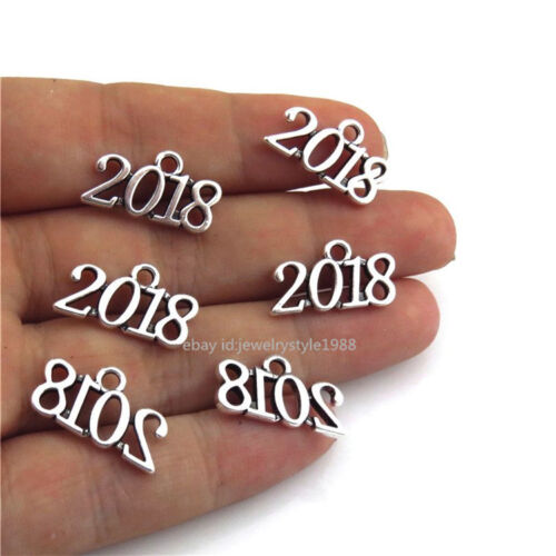21638 50pcs Antique Silver New Year Numbers Charms 2018 Pendants Alloy Findings