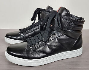 b5a0eaccd7ec Prada Linea Rossa High Top Sneaker Black Soft Leather Mens Size US 7 ...