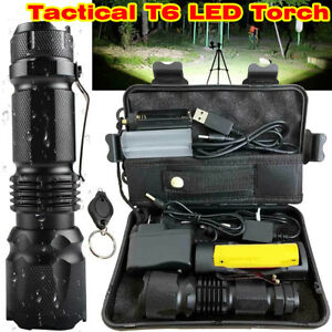 350000LM-Tactical-T6-LED-Flashlight-Torch-Zoomable-Work-Light-Headlamp-Outdoor