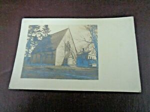 Antique-Black-amp-White-Postcard-Photograph-Of-Church