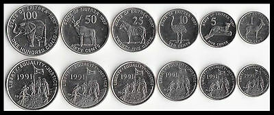 25 50 100 Cents 1991 5 UNC 10 Eritrea 6 Coins set 1