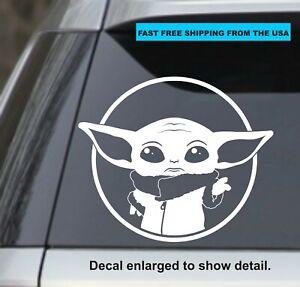 Madalorian Baby Yoda Star Wars White 5 5 Vinyl Sticker Decal Car Mac Yeti Ebay