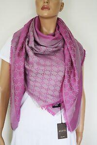 e31cda138e8c7 GUCCI Schal Tuch mit GG-Muster 140x140 cm Wolle Seide pink-silber ...