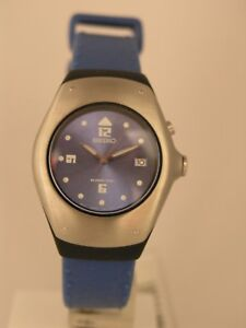 Image is loading Seiko-womens-watches-kinetic-blue-rubber-strap-stainless- 2916a697d8