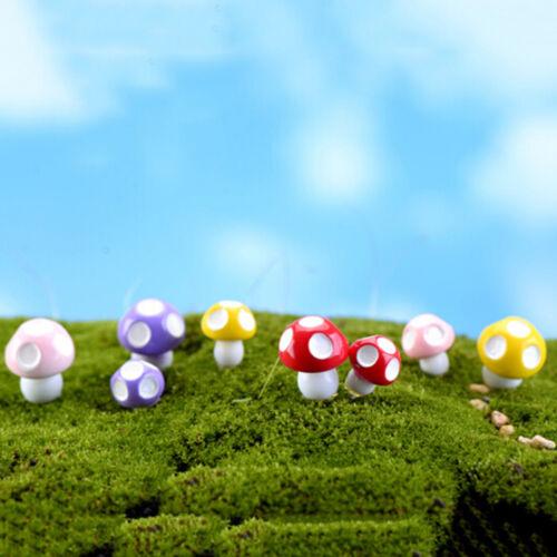20X Cute Mini Mushroom Garden Ornament Miniature Plant Pots Fairy Dollhouse TO
