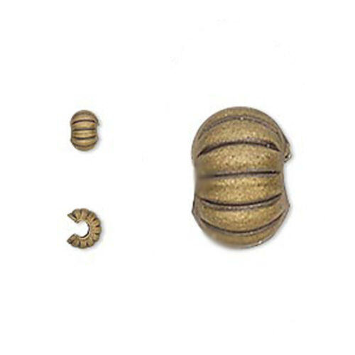 50 Corrugated Crimp Tube Bead Covers 3MM 4MM 5MM Gold  Silver  /& Gunmetal Plated