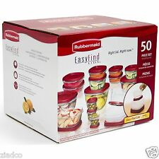 Rubbermaid 50 pc piece Easy Find Food Plastic Storage Containers Set Snapon Lids