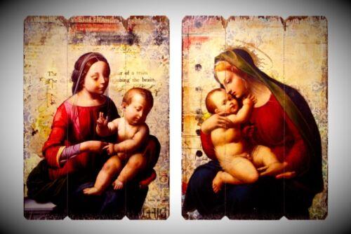 Kind Vintage Nostalgie Wanddeko Holzschilder 2 Marien Madonnen Figuren Mutter