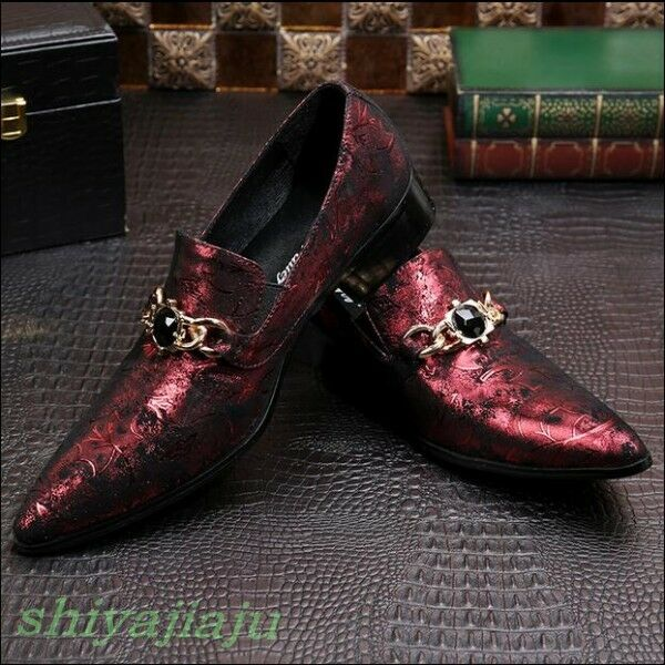 Scarpe casual da uomo  Chic uomos Fashion Metal Decor On Pointy Toe Slip On Decor Loafers Hairstylist Dress Shoes cf1d5a