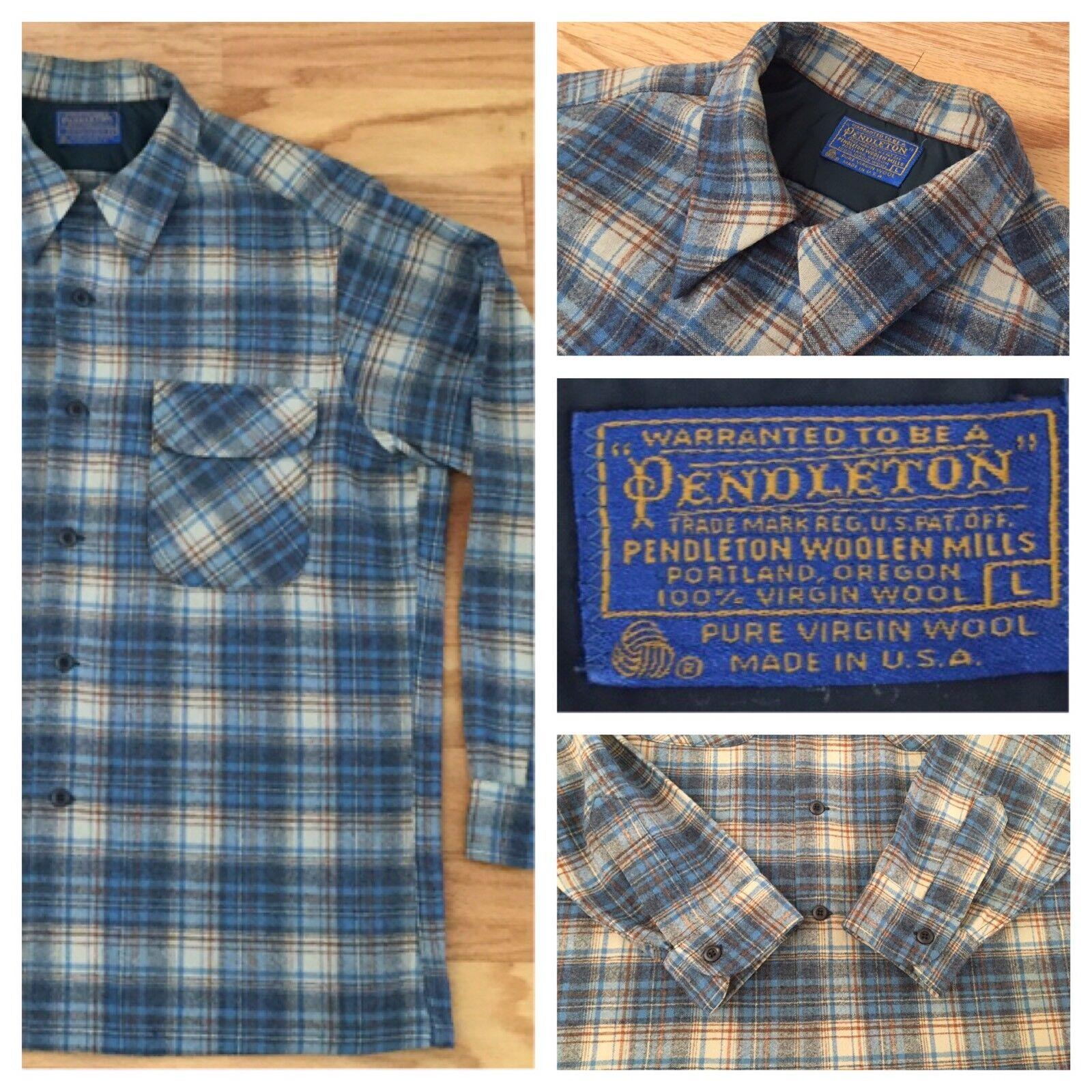Vintage Pendleton Mens Shirt Large Long Sleeve Wool Brown bluee Plaid AWESOME