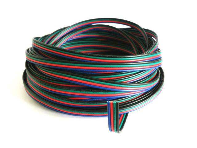 1-5-10-20-50-100m LED RGB Kabel, 4-adrig, Verlängerungskabel, Verbindungskabel