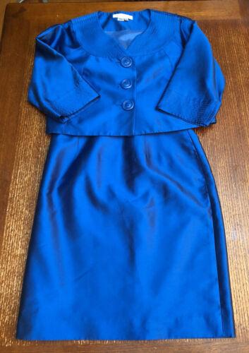 Women's Kay Unger Silk Skirt Suit Set Blue Size 4
