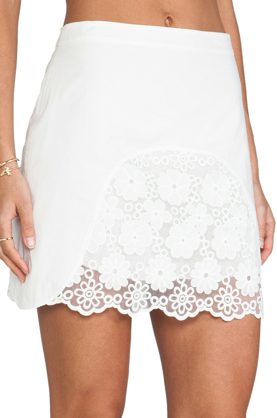 365 NEW See By Chloe Embroidered Voile Lace White Mini Skirt Eyelet US 2 US 4
