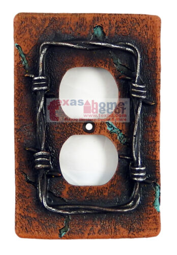 Barbed Wire Switch Plate Covers Rustic Color Turquoise Accents Western Decor