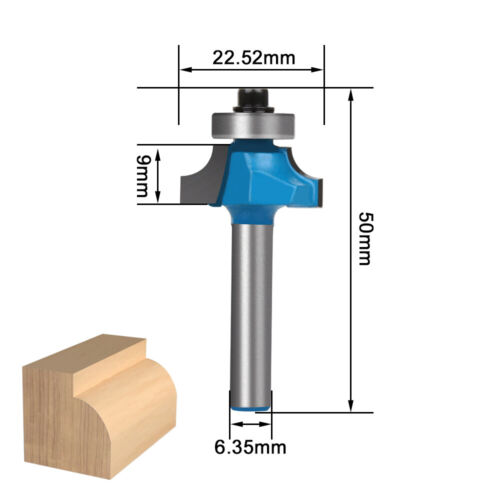"""Corner Round Bearing Router Bit Woodworking Milling Cutter Tool 1//2"""" 1//4/"""" Shank"""
