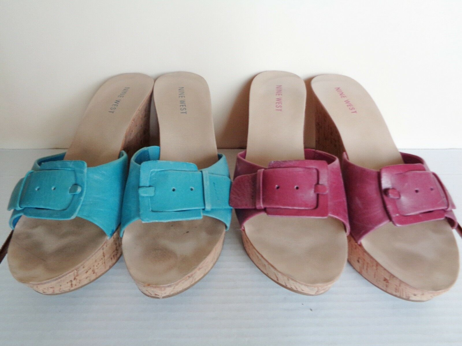 Nine West EFFORT Platform Teal Blue or Purple Slip-On Cork Platform EFFORT Wedge Sandals 91f02d