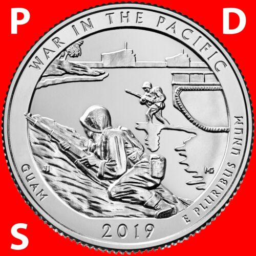 THREE UNCIRCULATED QUARTERS SET GUAM 2019 PDS WAR IN THE PACIFIC