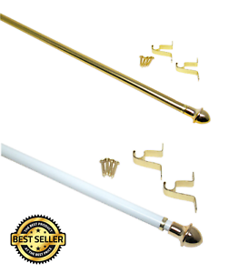 Cafe-Standard-Adjustable-Curtain-Rod-Hardware-Included-Gold-amp-White