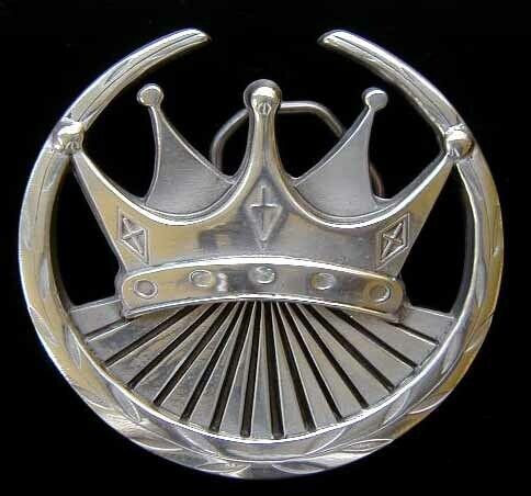 CROWN AND LAURELS BELT BUCKLE CHROME FINISH NEW!
