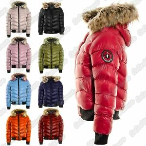 20e79ae81a Details about Ladies Padded Quilted Fur Hooded Shiny Badge Puffer Bomber  Jacket Winter Coat