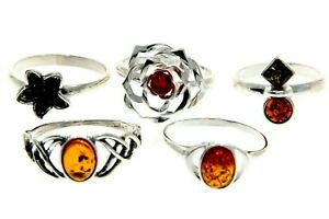 WHOLESALE-JOB-LOT-5-Baltic-Amber-amp-925-Solid-Sterling-Sterling-Silver-RINGS