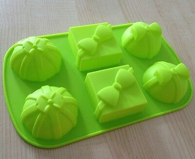 Cake Mold, Soap Mold 6-Gift Box Bow Flexible Silicone Mould For Candy Chocolate